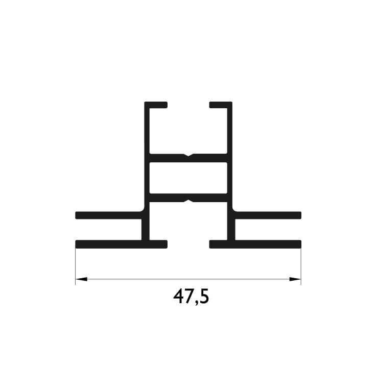 47,5 mm Çift Taraflı Profil Çizim